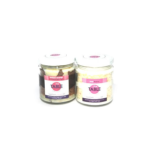 The Table Cake - Molten Orange Tart & Salted Caramel Brownie  Combo, 300 g Pack of 2 Jars