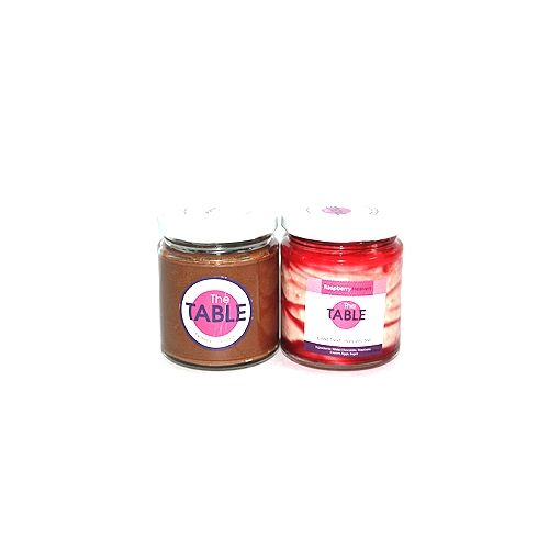 The Table Cake - Sin Azucar & White Chocolate Raspberry  Combo, 300 g Pack of 2 Jars