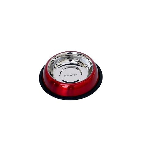 Pets 101 Pet Accessories - Bow - Wow Belly Non Skid Bowl - Red, Medium