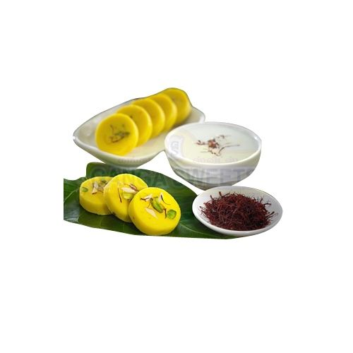 Ganga Sweets Sweets - Kesar Peda - 1000Gm, 1 kg