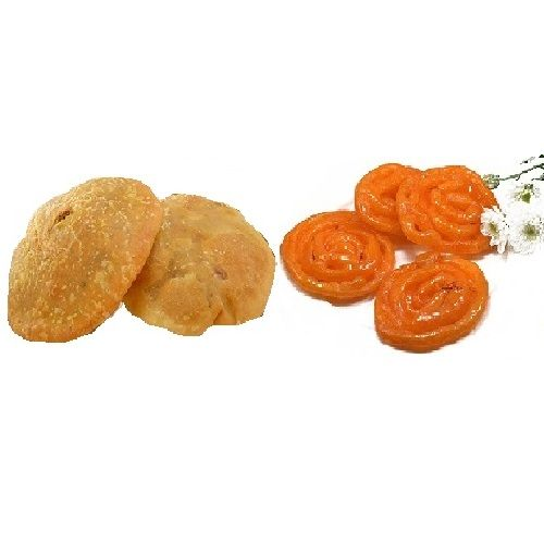 Jainam Dryfuits & Sweets  Snacks Combo - 5 Pcs Kachori And 200Gm Kesar Jalebi Pack, 1 pc