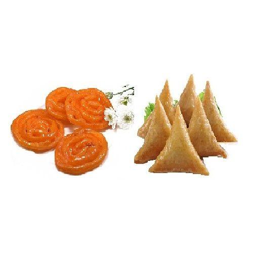 Jainam Dryfuits & Sweets  Snacks Combo - 6 Pcs Samosa And 200Gm Kesar Jalebi Pack, 1 pc