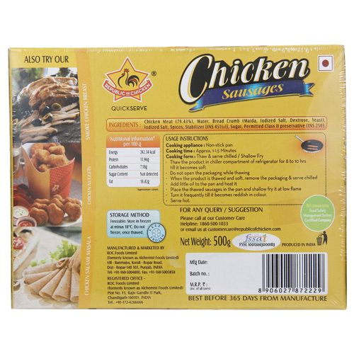 Republic of Chicken Sausages - Chicken, 500 gm