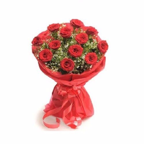 Blooms & Bouquets Flower Bouquet - 12 Mesmerising Red Roses, 1pc