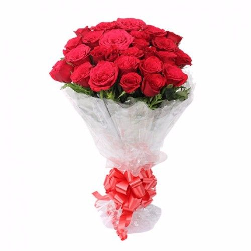 BLOOMS AND BOUQUETS Flower Bouquet - 20 Charming Red Roses, 1 pc Cellophane