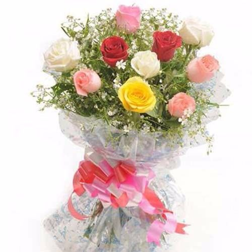 Blooms & Bouquets Flower Bouquet - 6 Red and 6 White Carnations, 1 pc