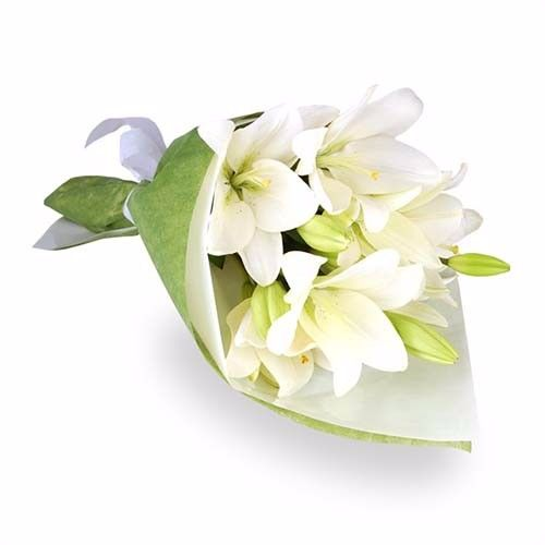 BLOOMS AND BOUQUETS Flower Bouquet - 6 Classic White Asiatic Lilies, 1 pc Paper Packing