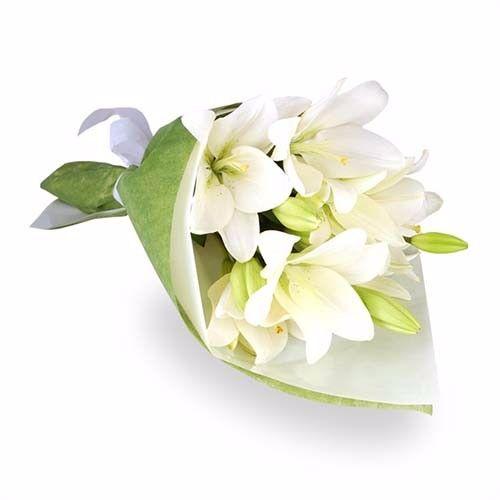Blooms & Bouquets Flower Bouquet - 6 Classic White Oriental Lilies, 1 pc