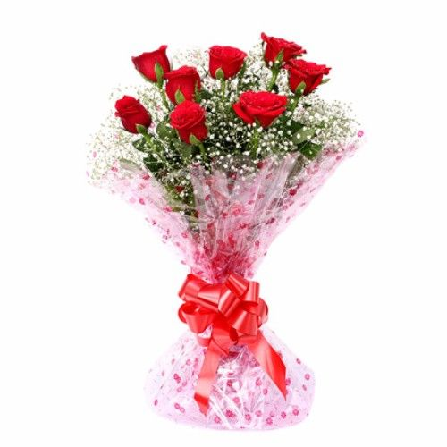 Blooms & Bouquets Flower Bouquet - 8 Charming (Cellophane) Red Roses, 1 pc