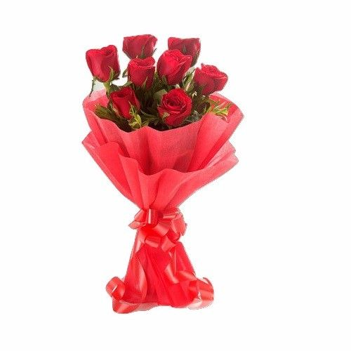 Blooms & Bouquets Flower Bouquet - 8 Delightful (Paper Wraping) Red Roses, 1 pc