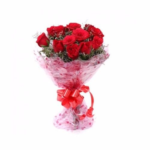 Blooms & Bouquets Flower Bouquet - 12 Charming (Cellophane) Pink Roses, 1 pc