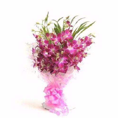 BLOOMS AND BOUQUETS Flower Bouquet - 6 Purple Orchids, 1 pc