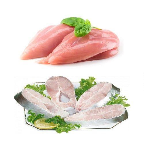 Fresh n Fresh Combo - Chicken Boneless & Rawas Fish Slices, 1 kg Tray
