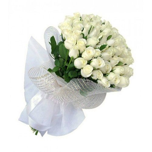 Blooms & Bouquets Flower Bouquet - 50 Delightfull White Rose, 1 pc Paper Packing