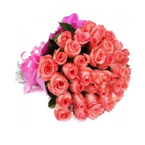 Blooms Bouquets Flower Bouquet 30 Delightfull Pink Rose 1 Pc Paper Packing