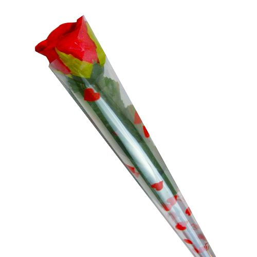 Blooms & Bouquet Flower Bouquet - Single Charming Red Rose, 50 pcs Cellophane Packing