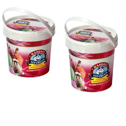 Masqati Ice Cream - Honey Almond (500Ml X 2), 1 L