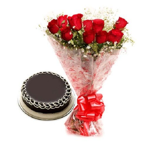 99 Flowers Flowers Bouquet - 10 Red Roses & Chocolate Cake, 1 pc