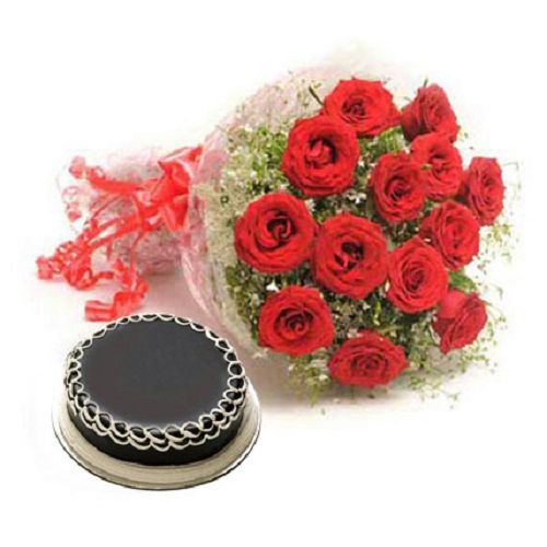 99 Flowers Flowers Bouquet - 12 Red Roses & Choclate Cake, 1 pc