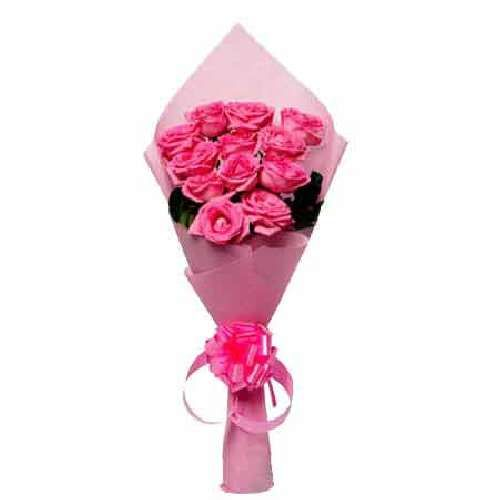 SATISH FLORIST Flower Bouquet - 12 Charming Pink Roses, 1 pc