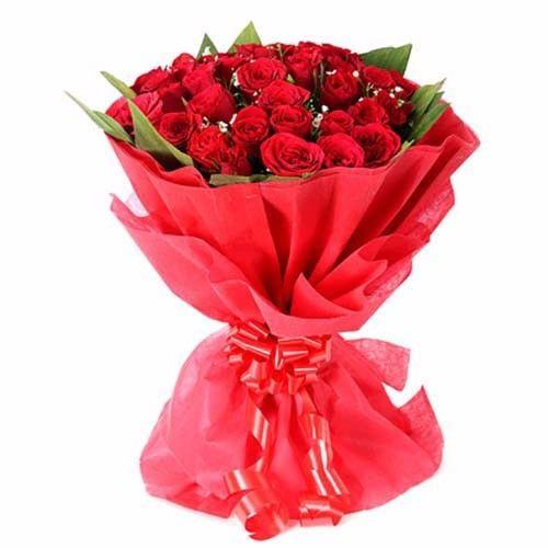 SATISH FLORIST Flower Bouquet - 20 Delightful Red Roses, 1 pc