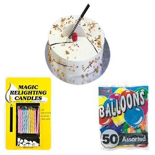 Buy The Cake Masters Party Combo Butterscotch 1Kg Magic Candles Balloons 11 Kg Online At Best Price