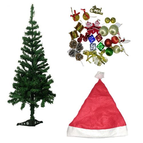 Vidya Decorations Combo - Christmas Tree 3 Feet, Assorted Tree Decoration Large & Santa Cap, 3 pcs 3 Pack Combo