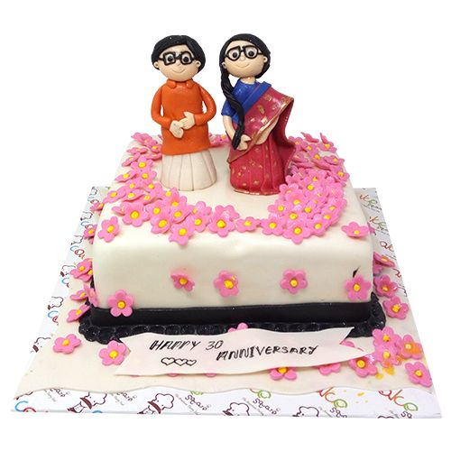 Buy Cake Square Designer Cakes Cute Couples Anniversary Theme Black