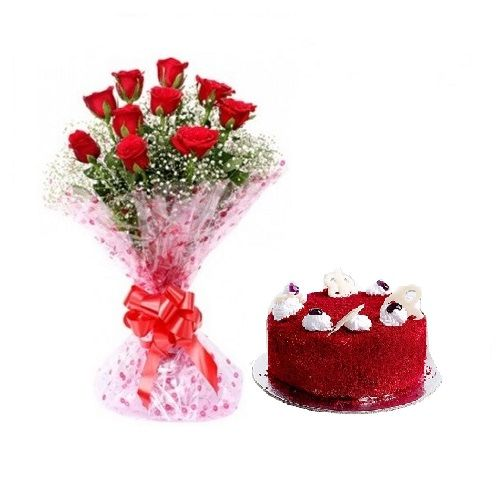 Valentine's Day Special, Camp Combo - 10 Charming Red Roses Bouquet & Red Velvet Cake, Eggless, 2 items