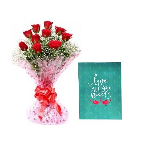 Valentine's Day Special, Camp Combo - 10 Charming Red Roses Bouquet & Expression Of Love - Greeting Card, 2 items