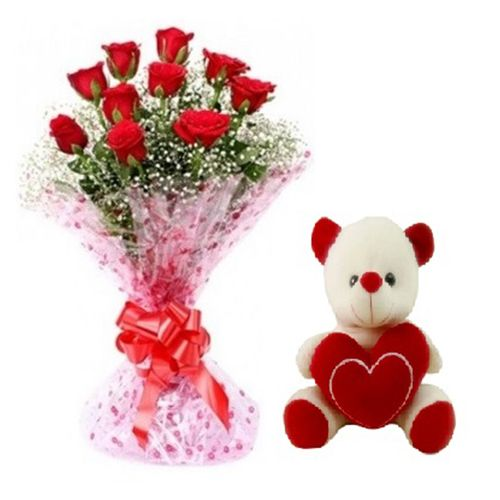 Teddy Special Aundh Combo - 10 Charming Red Roses Bouquet & Cute Love Teddy, 1 pc