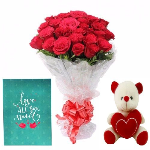 Teddy Special Aundh Combo - 20 Charming Red Roses Bouquet, Cute Love Teddy & Expression of Love - Greeting Card, 1 pc