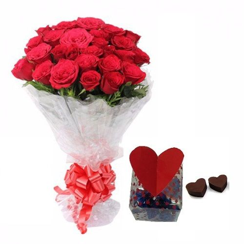 Teddy's Day Special, Blooms & Bouquets Combo - 20 Charming Red Roses Bouquet & Premium Assorted Chocolate Box, 2 items
