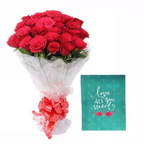 Teddy's Day Special, Blooms & Bouquets Combo - 20 Charming Red Roses Bouquet & Expression Of Love - Greeting Card, 2 items