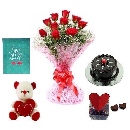 Teddy's Day Special, Blooms & Bouquets 5 In 1 Love Combo - 10 Charming Red Roses Bouquet, Eggless Choco Truffle Cake, Premium Assorted Chocolate Box, Expression Of Love - Greeting Card & Cute Love Teddy, 5 items