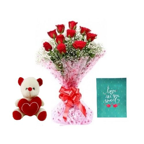 Teddy Day Special, Kothrud Combo - 10 Charming Red Roses Bouquet, Cute Love Teddy & Expression Of Love - Greeting Card, 3 items