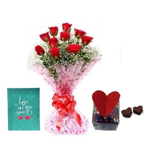 Teddy Day Special, Kothrud Combo - 10 Charming Red Roses Bouquet, Premium Assorted Chocolate Box & Expression Of Love - Greeting Card, 3 items