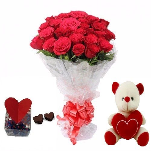 Teddy Day Special, Kothrud Combo - 20 Charming Red Roses Bouquet, Cute Love Teddy & Premium Assorted Chocolate Box, 3 items