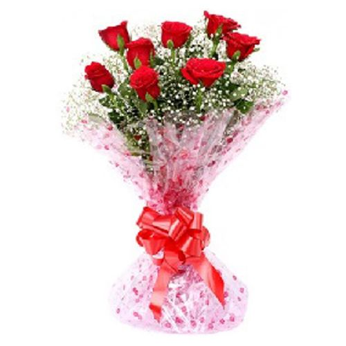 Rose Day Special, camp Flower Bouquet - 10 Charming Red Roses, 1 pc
