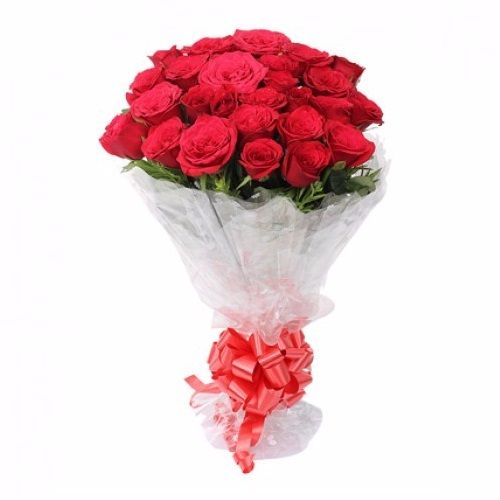 Rose Day Special, camp Flower Bouquet - 20 Charming Red Roses, 1 pc