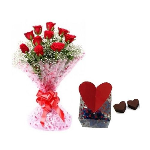 Rose Day Special, camp Combo - 10 Charming Red Roses Bouquet & Premium Assorted Chocolate Box, 2 items