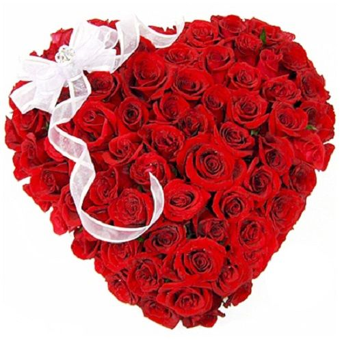 Rose Day Special, camp Heart Shaped Bouquet - 50 Charming Red Roses, 1 pc