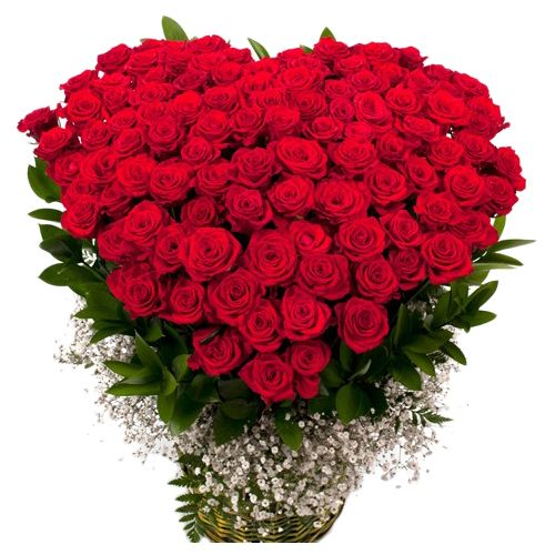 Rose Day Special, camp Heart Shaped Bouquet - 100 Charming Red Roses, 1 pc