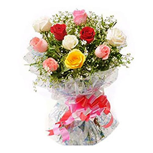 Mother's Day Special Combo - 10 Mixed Roses Bouquet, Mango Fruit Cake & Greeting Card, 3 items