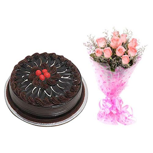 Mother's Day Special 10 Pink Roses Bouquet & Chocolate Cake- combo, 2 items