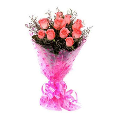 Mother's Day Special 10 Pink Roses - Flower Bouquet, 1 pc