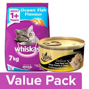 Buy bb Combo Whiskas Adult Cat Food Ocean Fish 7Kg + Sheba Complete Nutrition For Cats 85G Combo (2 Items) Online at Best Price. - bigbasket