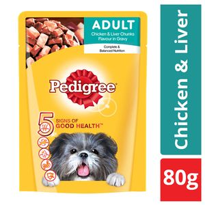 Buy Pedigree Daily Food For Adult Dogs Chicken Liver Chunks 80