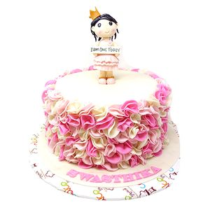 Astonishing Buy Cake Square Designer Cakes Baby Girl 1St Birthday Spl Personalised Birthday Cards Epsylily Jamesorg