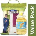 Daawat Basmati Rice Rozana 5kg + Sunpure Sunflower Oil 5L + BB Royal Sugar 2kg